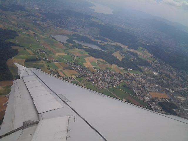 Blick aus dem Flugzeug auf dem Weg nach Barcelona